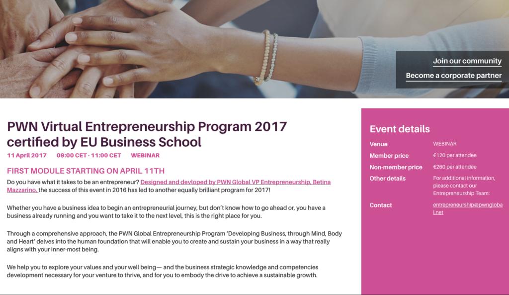 PWN Virtual Entrepreneurship Program developed by Betina Mazzarino @ Limbica